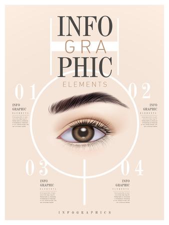 human eye: infographic template design with human eye. 3D illustration Illustration