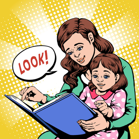 Pop art illustration and retro comic style. Mom reading story for her child.