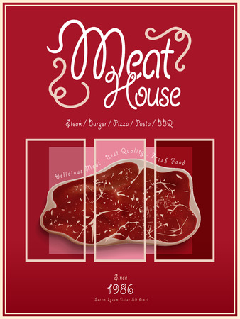 Meat House Poster Template Design With Beef 3D Illustration Royalty