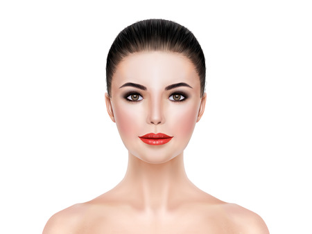beauty products: portrait of young lady with heavy makeup. 3D illustration