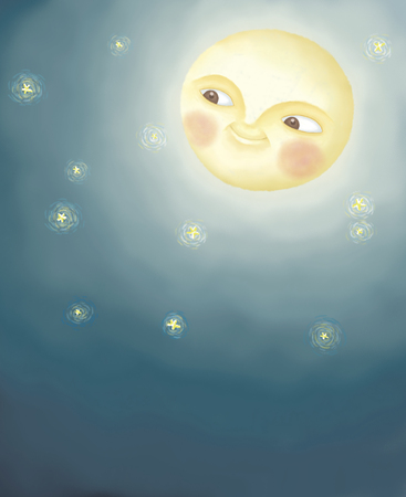Full moon hanging in dark blue sky. Adorable illustration in hand drawn style