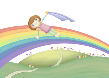 country side: Girl doing yoga plank pose on the rainbow.  Lovely illustration in hand drawn style Stock Photo