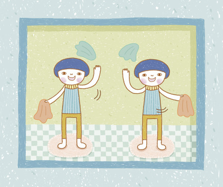 child hair: Twins doing game together. Lovely illustration in hand drawn style