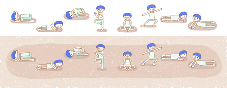 flexible girl: Yoga poses series. Lovely illustration in hand drawn style