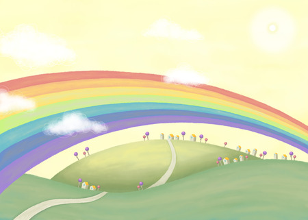 country side: Beautiful countryside scenery with rainbow.  Lovely illustration in hand drawn style Stock Photo