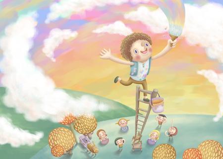 Junge Malerei bunten Himmel mit seinen Freunden. Reizende Illustration in Hand gezeichnet Stil