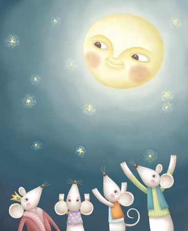 admire: Mouse admire the moon together. Adorable illustration in hand drawn style