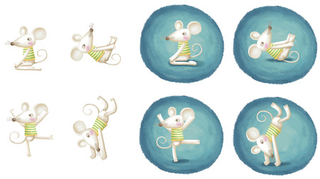 warm clothing: Mouse practicing yoga pose. Lovely illustration in hand drawn style