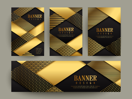 Modern banner template design. abstract gold geometric elements.