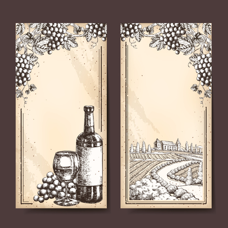 ad: Retro winery banner template design. Hand drawn style.