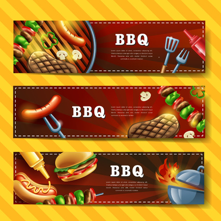 grill meat: Delicious BBQ banner design set with gourmet illustration Illustration