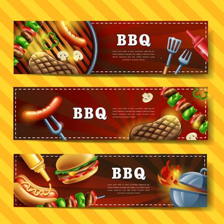 Diseño de la bandera deliciosa barbacoa conjunto con la ilustración de gourmet