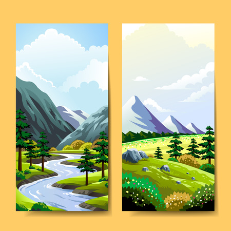landschap: Expeditie banner template design. Fantastische natuur landschap.