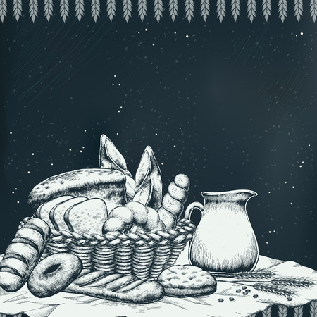 exquisite: Exquisite bakery background design in hand drawn style Illustration