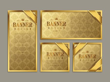 豪華なバナー テンプレート デザイン。金パターン背景を抽象化します。  イラスト・ベクター素材