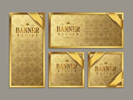 Gorgeous banner template design. abstract gold pattern background. 일러스트