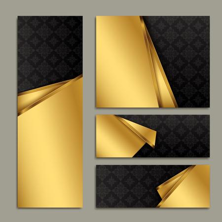 Modern banner template design. gold paper folded elements