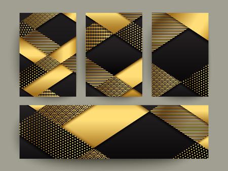 sencillez: diseño de la plantilla Bandera moderna. elementos geométricos de oro abstracto. Vectores