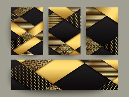 tide: Modern banner template design. abstract gold geometric elements.