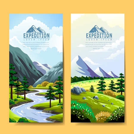 Expedition banner template design. Fantastic nature scenery.