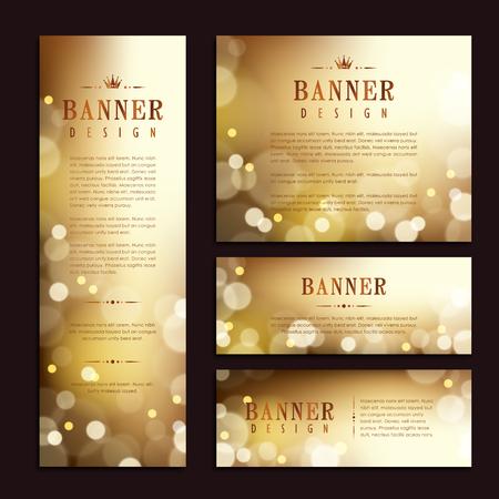 progettazione banner template Splendida. oro astratto scintillante. Vettoriali