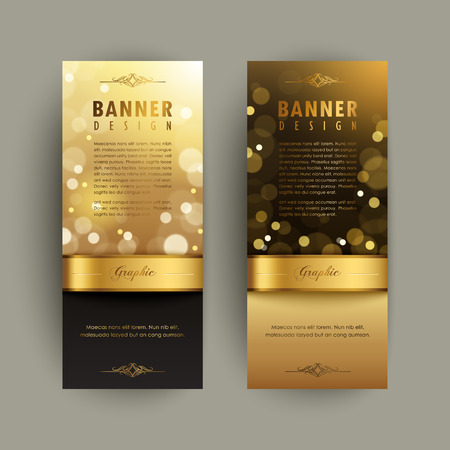 fascinated: Gorgeous banner template design. abstract gold sparkling background.