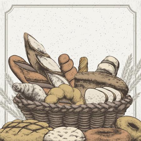 Exquisite conception boulangerie de fond dans le style tiré par la main