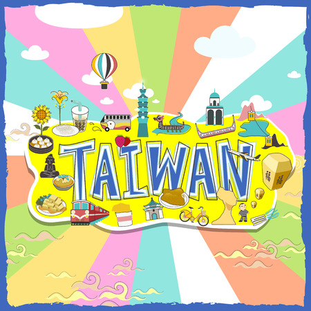 taiwan scenery: Taiwan travel poster design with attractions and gourmets in vivid color