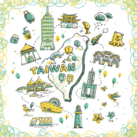attractions: lovely Taiwan travel map with famous attractions in doodle style