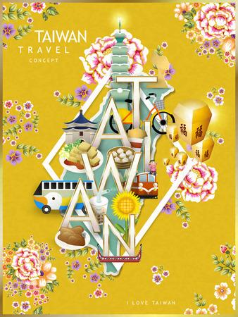 concetto di design di viaggio Taiwan con attrazioni e Hakka sfondo floreale Vettoriali