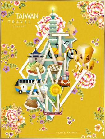 taiwan scenery: Taiwan travel concept design with attractions and hakka floral background