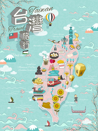 Taiwan travel map design with attractions and gourmets - Taiwan travel in Chinese on top left