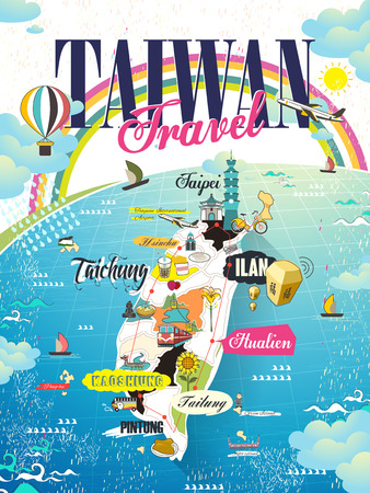 vacation map: lovely Taiwan travel map design with rainbow and ocean Illustration
