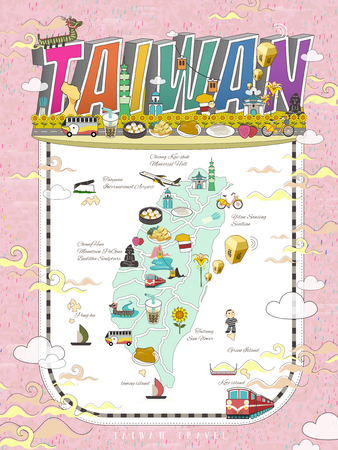 Taiwan travel map design with attractions and gourmets in vivid color Illustration