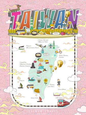 Taiwan Reise-Karte Design mit Attraktionen und Gourmets in lebendigen Farben Standard-Bild - 59230253
