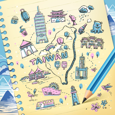 Taiwan travel map drawn on notepaper in pink and blue Illustration