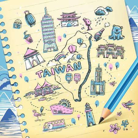 Taiwan reizen kaart getrokken op briefpapier in roze en blauw