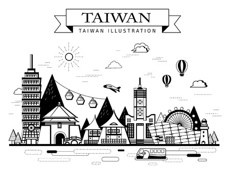 taiwan scenery: Taiwan travel concept poster with famous attractions in monochrome