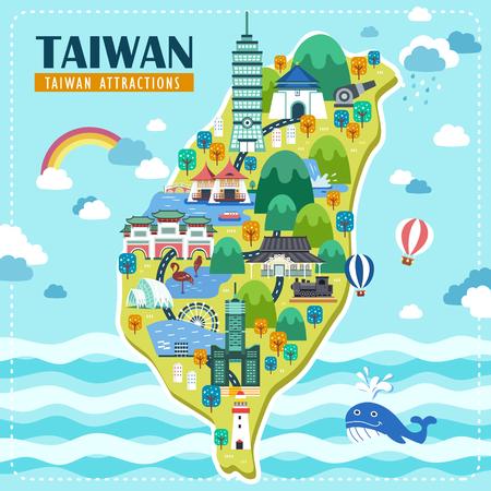 adorable Reisekarte Taiwan Design mit berühmten Sehenswürdigkeiten Illustration