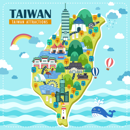 adorable Taiwan travel map design with famous attractions