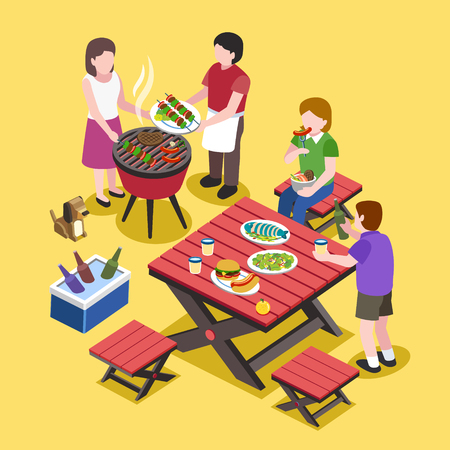 eat: flat 3d isometric design - BBQ party with friends