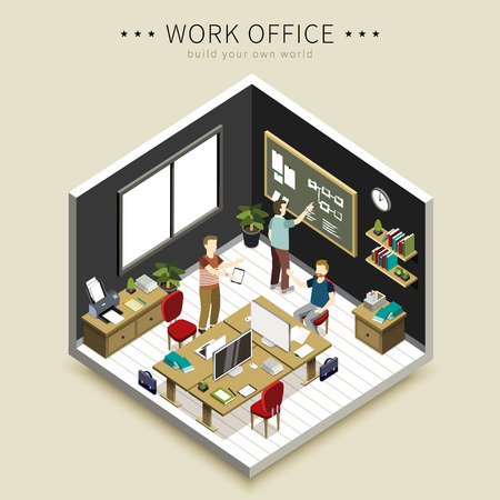 flat 3d isometric design - office working scene Vektorové ilustrace
