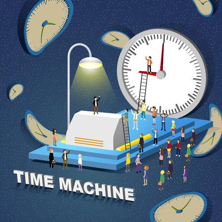 time machine: flat 3d isometric design - time machine concept