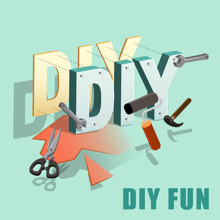 flat 3d isometric design - DIY concept with tools Ilustração Vetorial