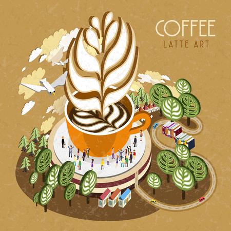 latte: flat 3d isometric design - latte art concept