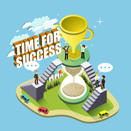achieve goal: flat 3d isometric design - its time for success Illustration