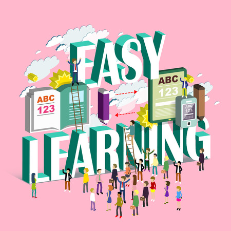 reading books: flat 3d isometric design - easy learning concept