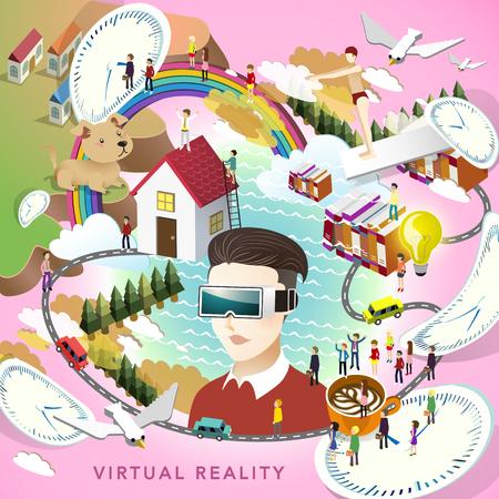 flat 3d isometric design - virtual reality concept Illustration