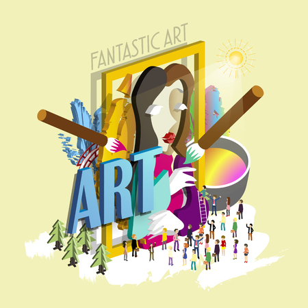 art exhibition: flat 3d isometric design - fantastic art exhibition