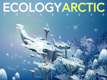 arctic: ecology flat 3d isometric design - amazing arctic scenery